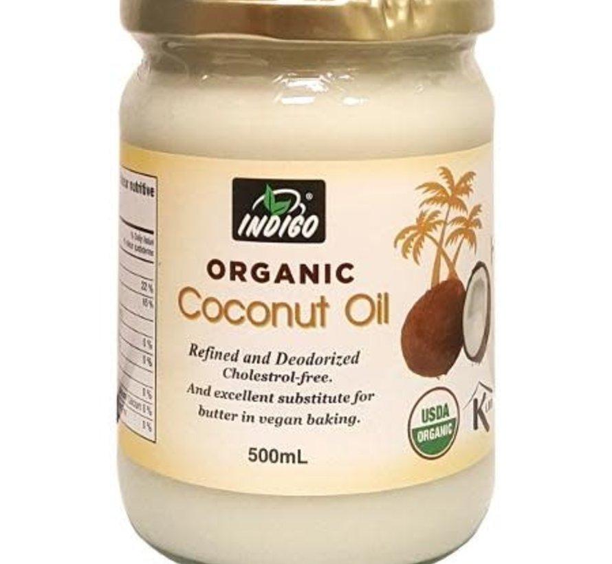 Huile de coco raffinée biologique Indigo, 500ml