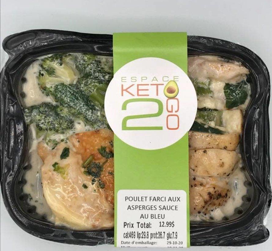 Poulet farci aux asperges sauce au bleu Keto / Cétogène (glu: 7.9)
