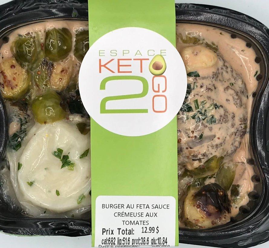 Burger au Feta sauce crémeuse aux tomates Keto / Cétogène (glu: 10.84)
