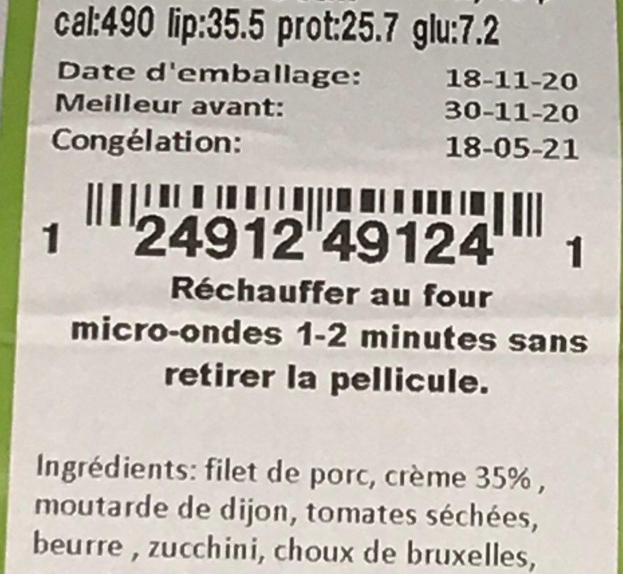 Médaillon de porc sauce à l'estragon Keto / Cétogène (glu: 7.2)