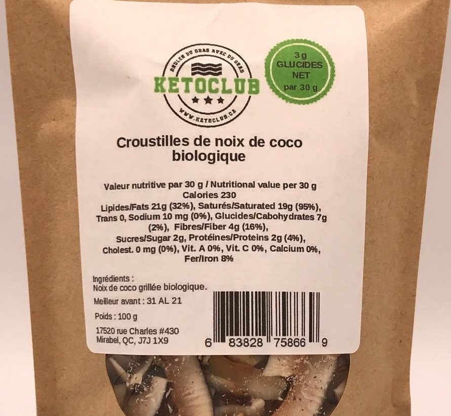 Croustilles de noix de coco biologique