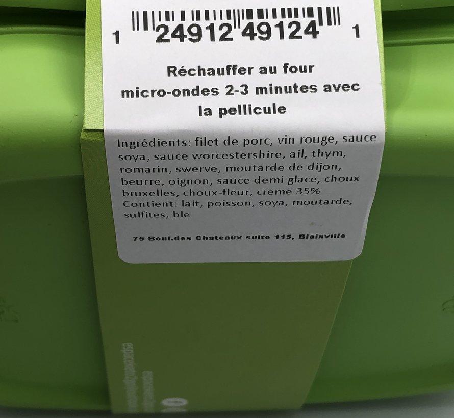 Filet de porc au vin rouge céto/kéto (glu: 12.5g)