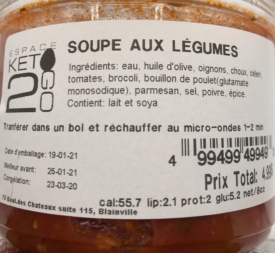 Soupe aux légume Keto / Cétogène (glu: 5.2)