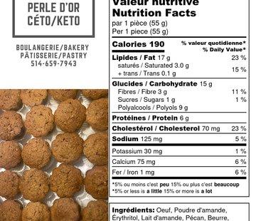 Perle D'or Muffins aux pécans Keto / Cétogène (glu: 3)