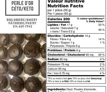 Perle D'or Muffins au chocolat Keto / Cétogène (glu: 2)