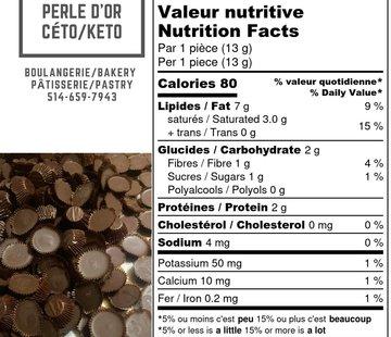 Perle D'or Boules d'énergie / Fat Bombs Keto / Cétogène (glu: 1)