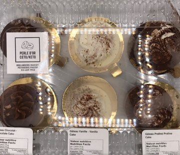 Perle D'or Gateaux Chocolat / Vanille / Tiramisu / Praliné (Paques de 6) (3 Saveurs par boite) Keto / Cétogène