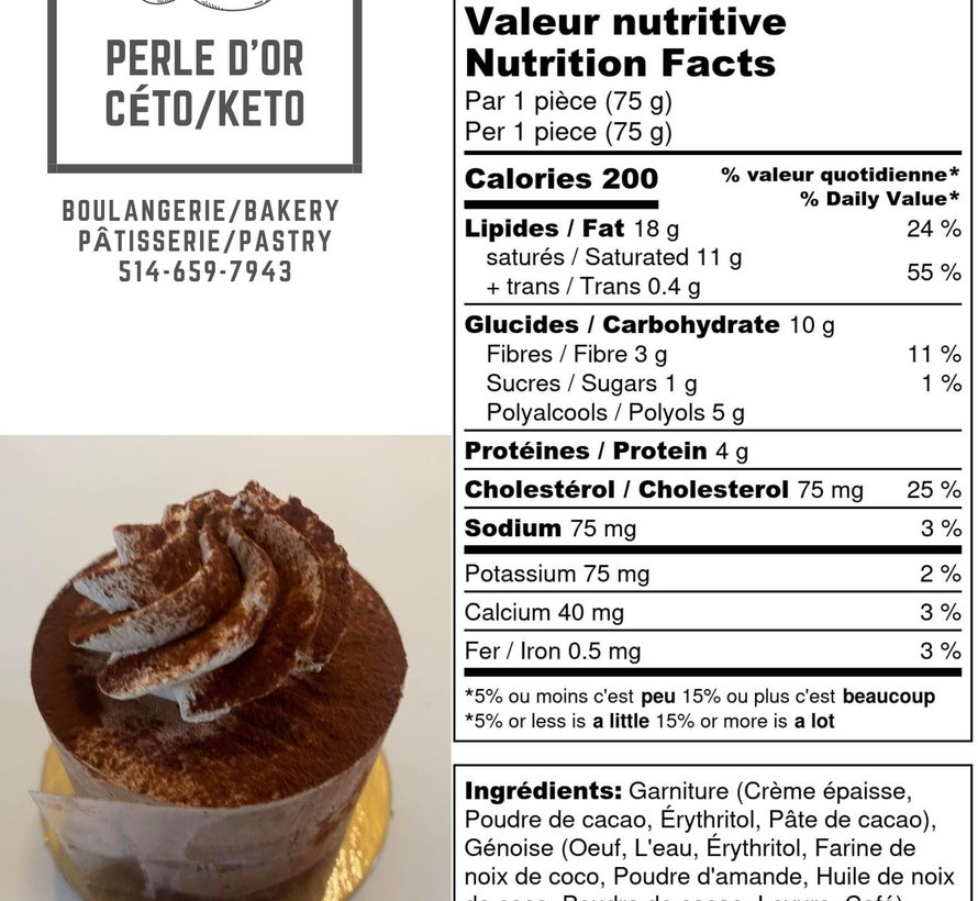 Gateaux Chocolat / Vanille / Tiramisu / Praliné (Paques de 6) (3 Saveurs par boite) Keto / Cétogène