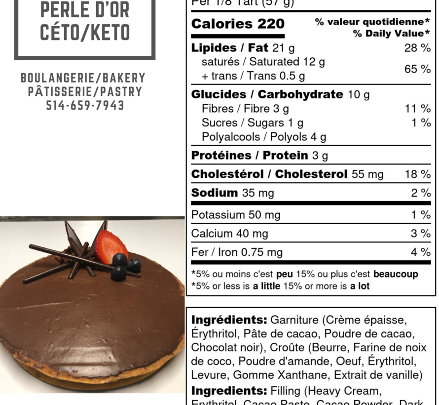 Tarte au chocolat Keto / Cétogène (6-8 portions)
