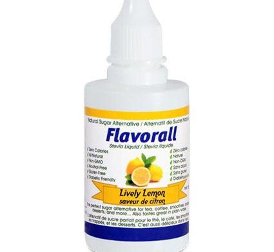 Gouttes de stévia liquide Flavorall, saveur de citron - 50ml