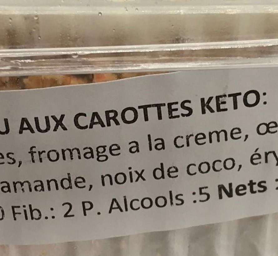 Morceaux de gateau aux carottes (3) Keto / Cétogène (glu: 3)