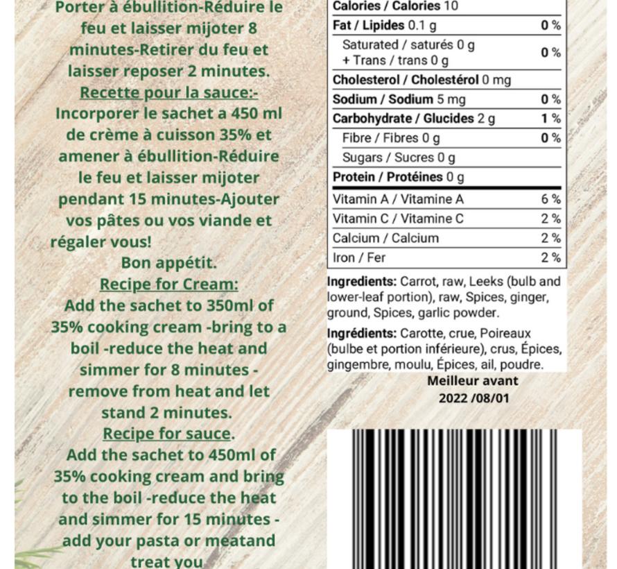 Mélange Soupe/Sauce carotte et gingembre Keto/Cétogène (28 g)