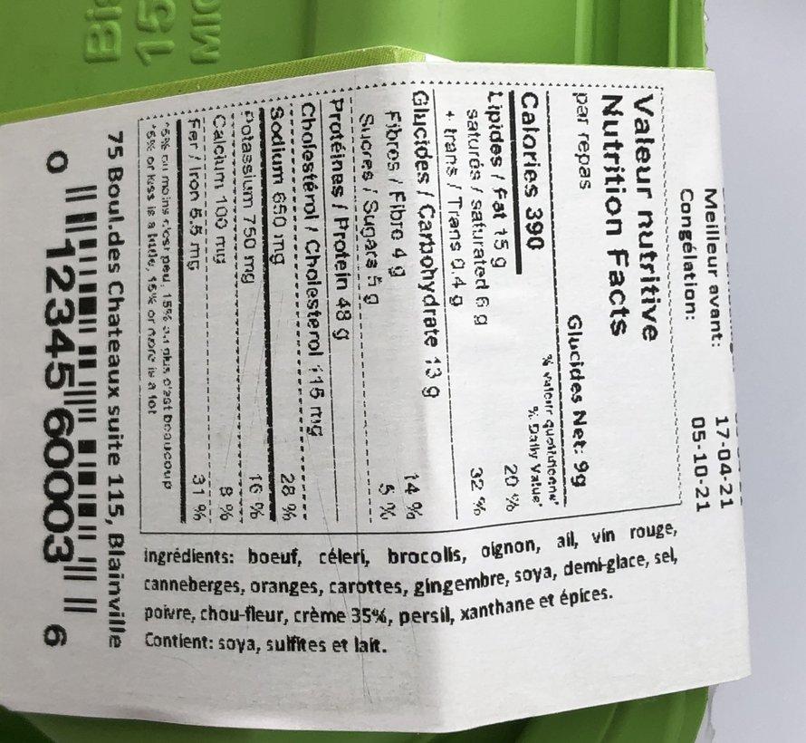Bœuf canneberges et oranges Keto / Cétogène (glu: 7,97)