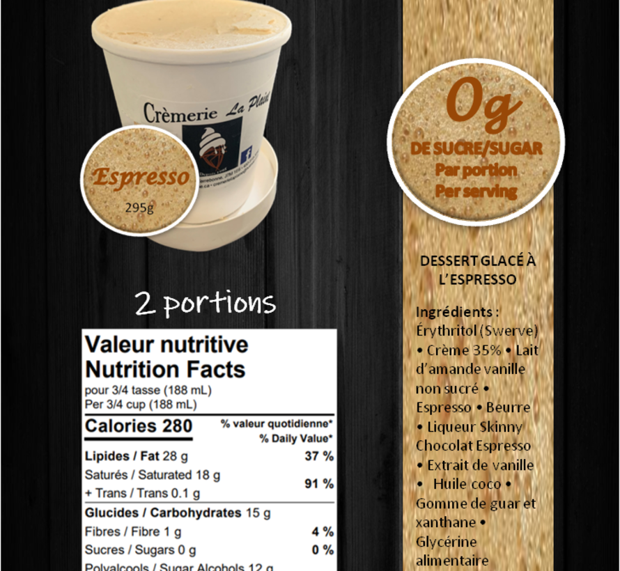 Crème glacée Keto / Cétogène (pot 473 ml)