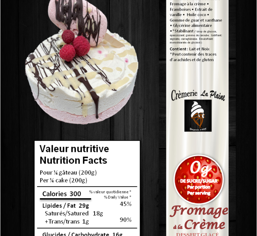 """Gâteau glacé (6"""") Keto/Cétogène (glu: 4 g / 200 g)"""