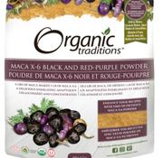 Organic traditions Poudre de Maca X-6 noir et rouge-pourpre 150 g