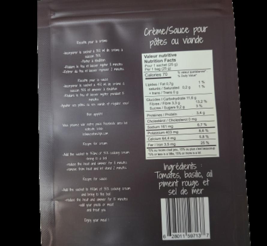 Mélange soupe/sauce tomate et basilic Keto/Cétogène (25 g)