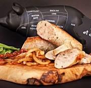 Sainte-Saucisse Saucisses artisanales - Sainte Saucisse bacon, oignon caramélisé, épinard
