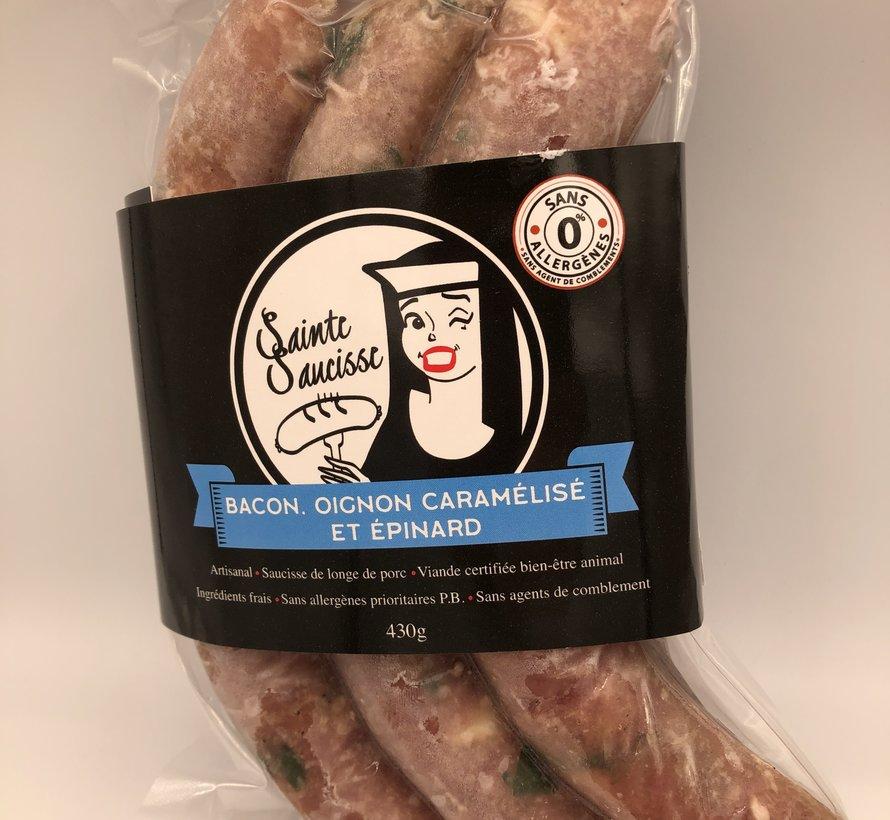 Saucisses artisanales - Sainte Saucisse bacon, oignon caramélisé, épinard