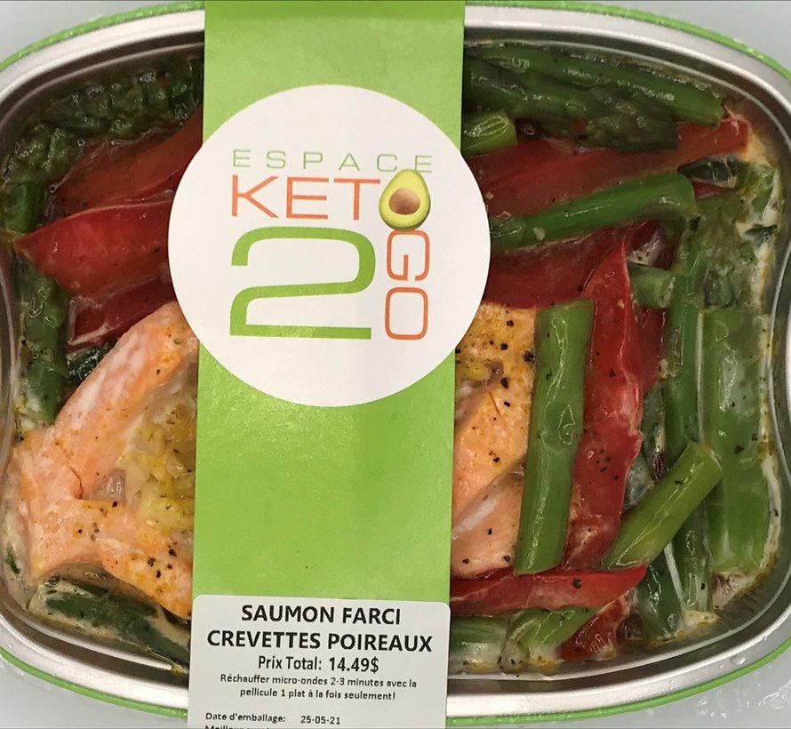 Saumon farci crevettes poireaux keto / Cétogène (glu: 7,0 g)