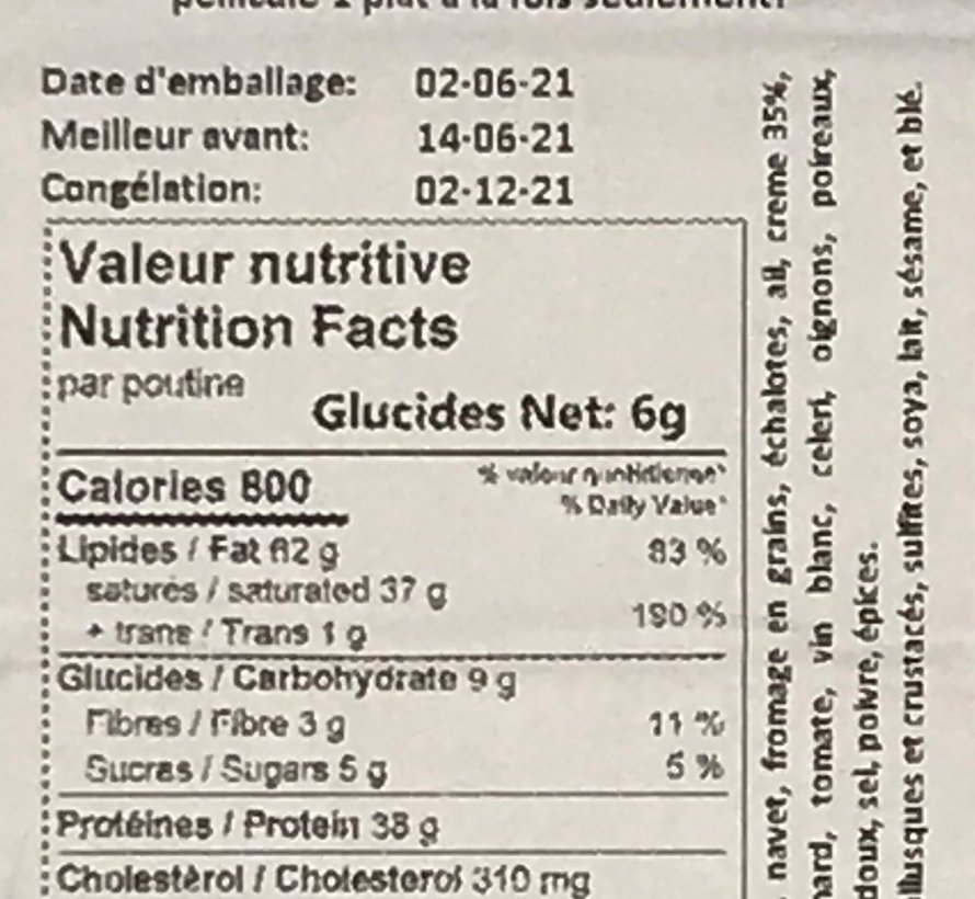 Poutine aux crevettes et sa bisque Keto / Cétogène (glu: 6,0 g)