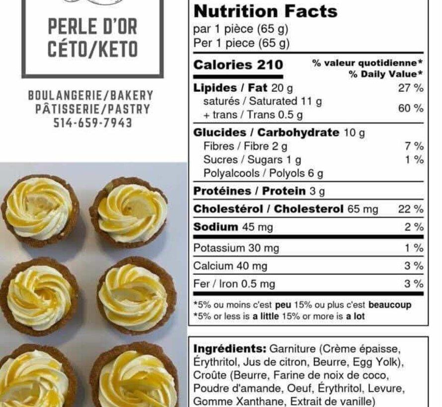 Tartelette au citron Keto (glu: 2,0 g)