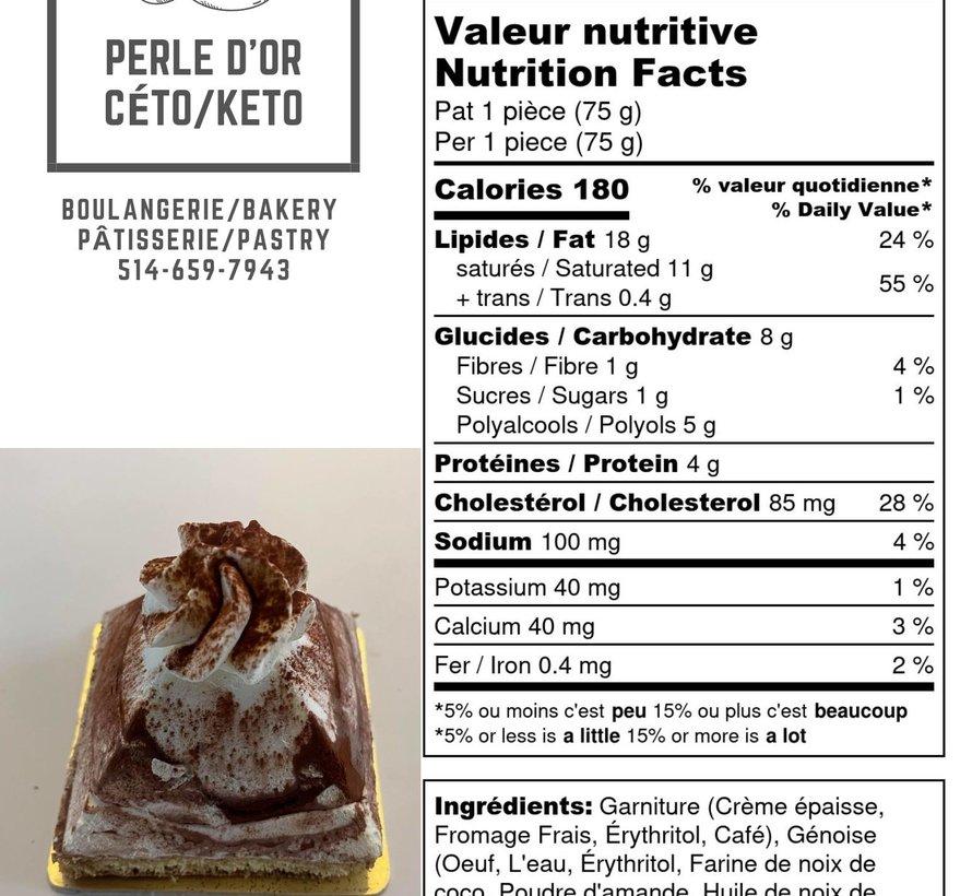 Petit gâteau Tiramisu Keto (glu: 2,0 g)