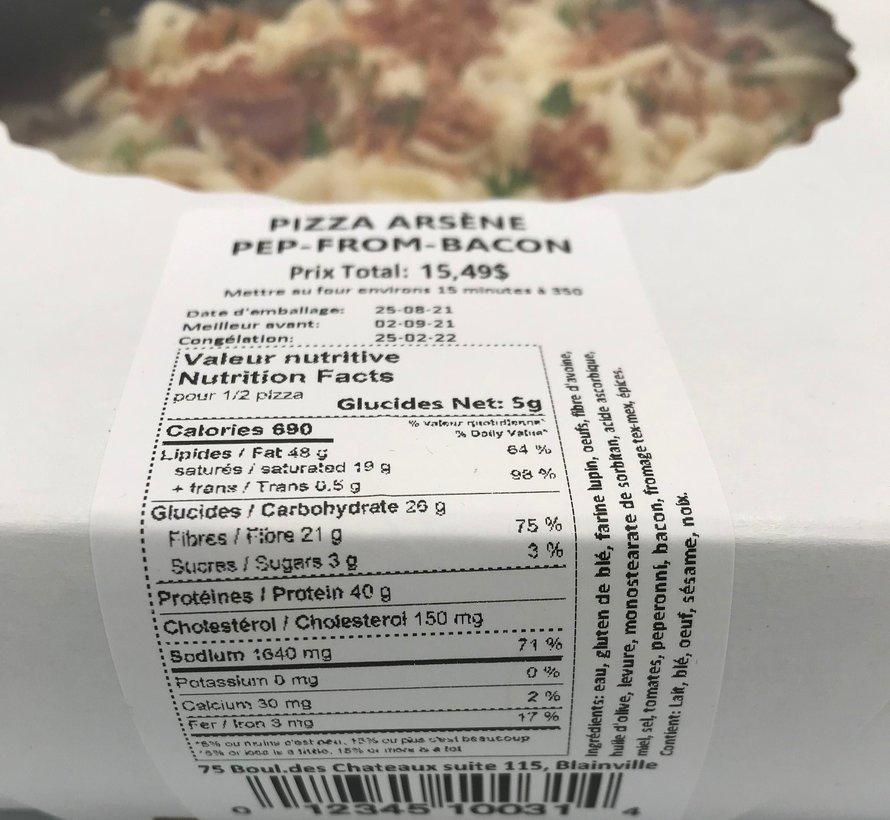 Pizza peppéroni, fromage, bacon Keto (glu: 5 g pour 1/2)