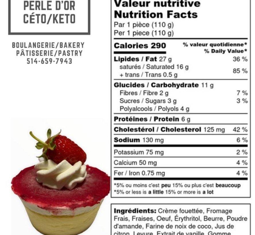 Petit gâteau au fromage Keto, fraises (glu: 5 g)