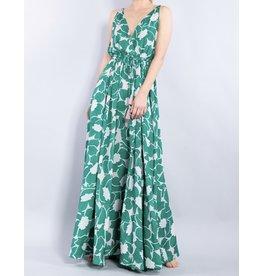 Floral Flowy Maxi Dress - Green/Pink