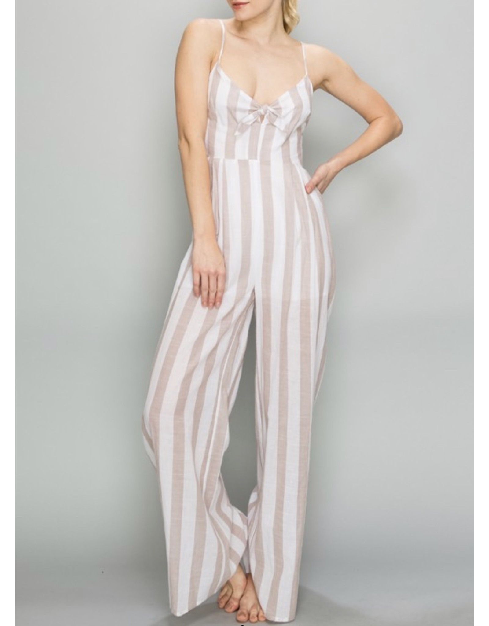 Tie Detail Striped Jumpsuit - Taupe