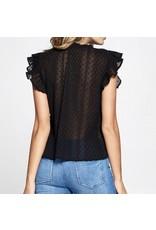 Lace Trim Top - Black