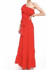 One Shoulder Jumpsuit - Red