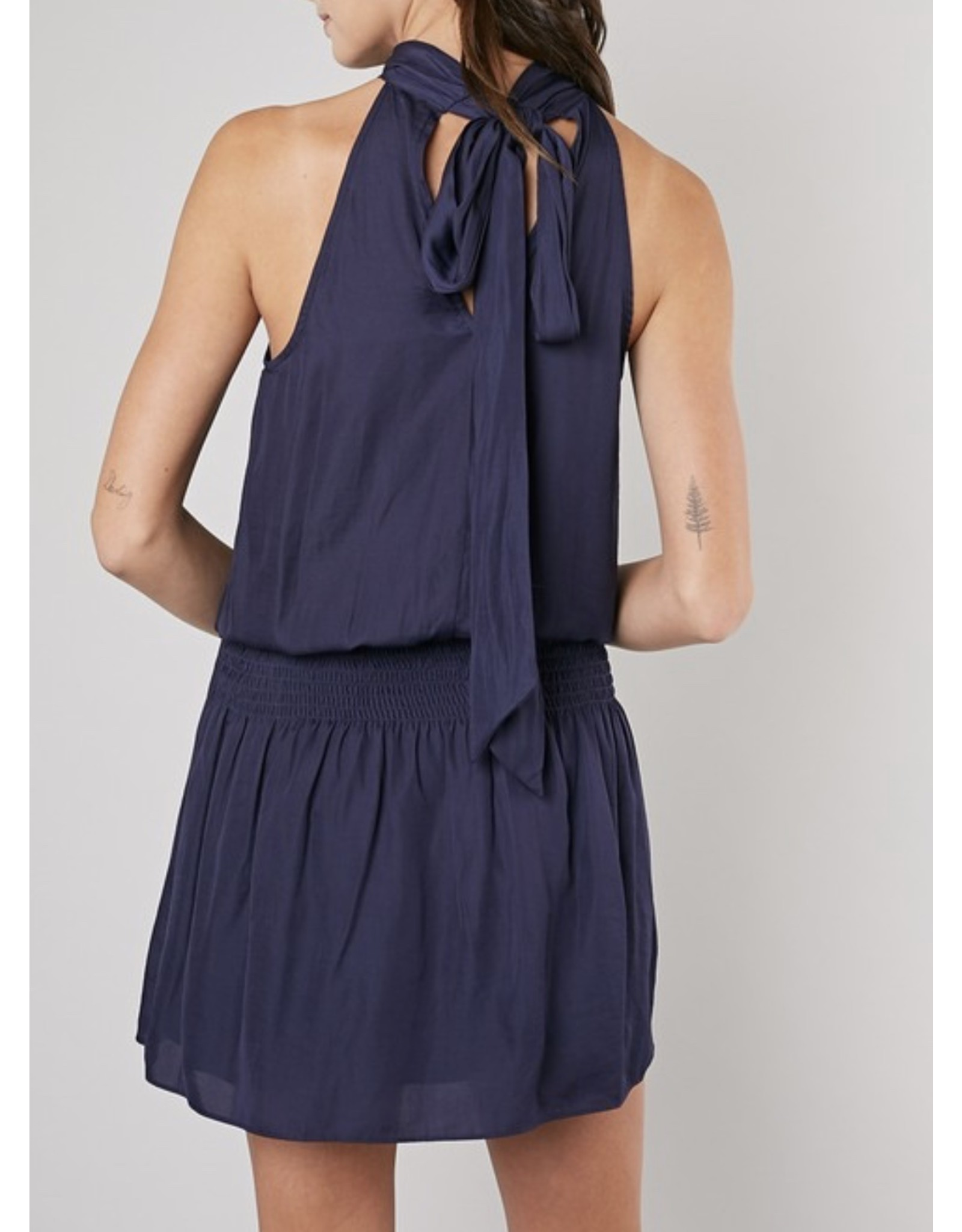 Mock Neck Dress - Navy