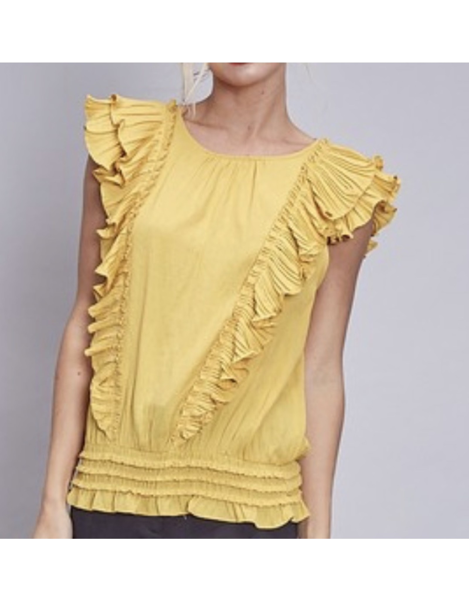 Ruffle Pleated Detail Top - Honey