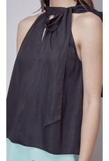 Tie Neck Halter Top - Black