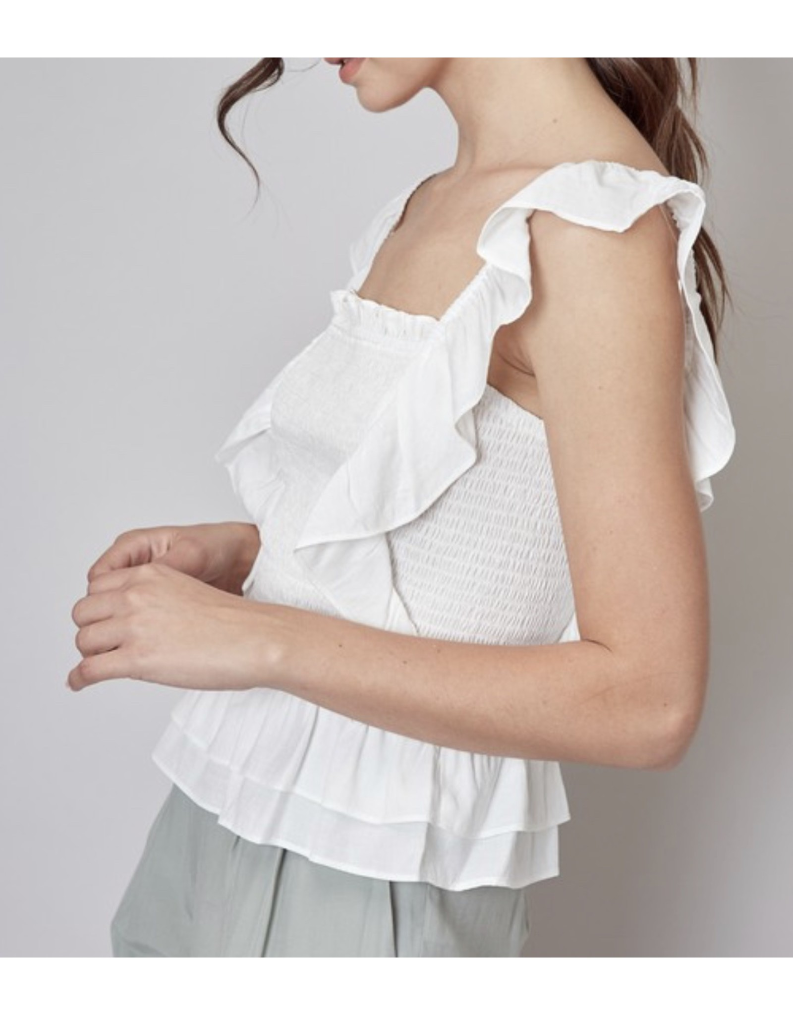 Smocked Detail Top - Off White