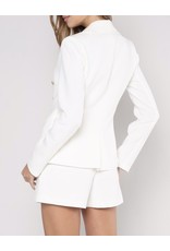 Gold Button Taylored Blazer - White
