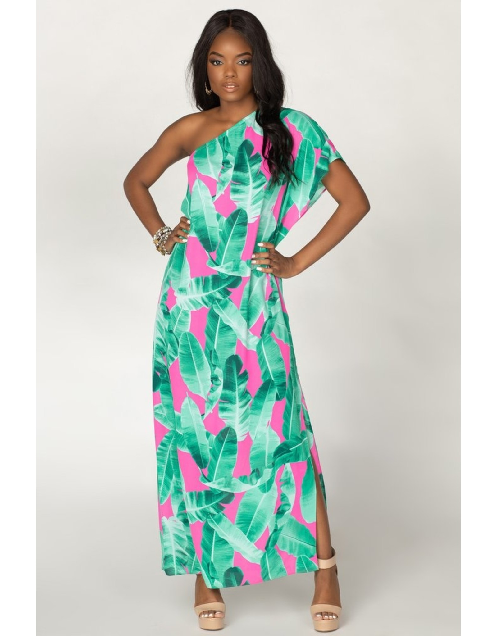 Buddy Love Tropical One Shoulder Maxi Dress - Pink