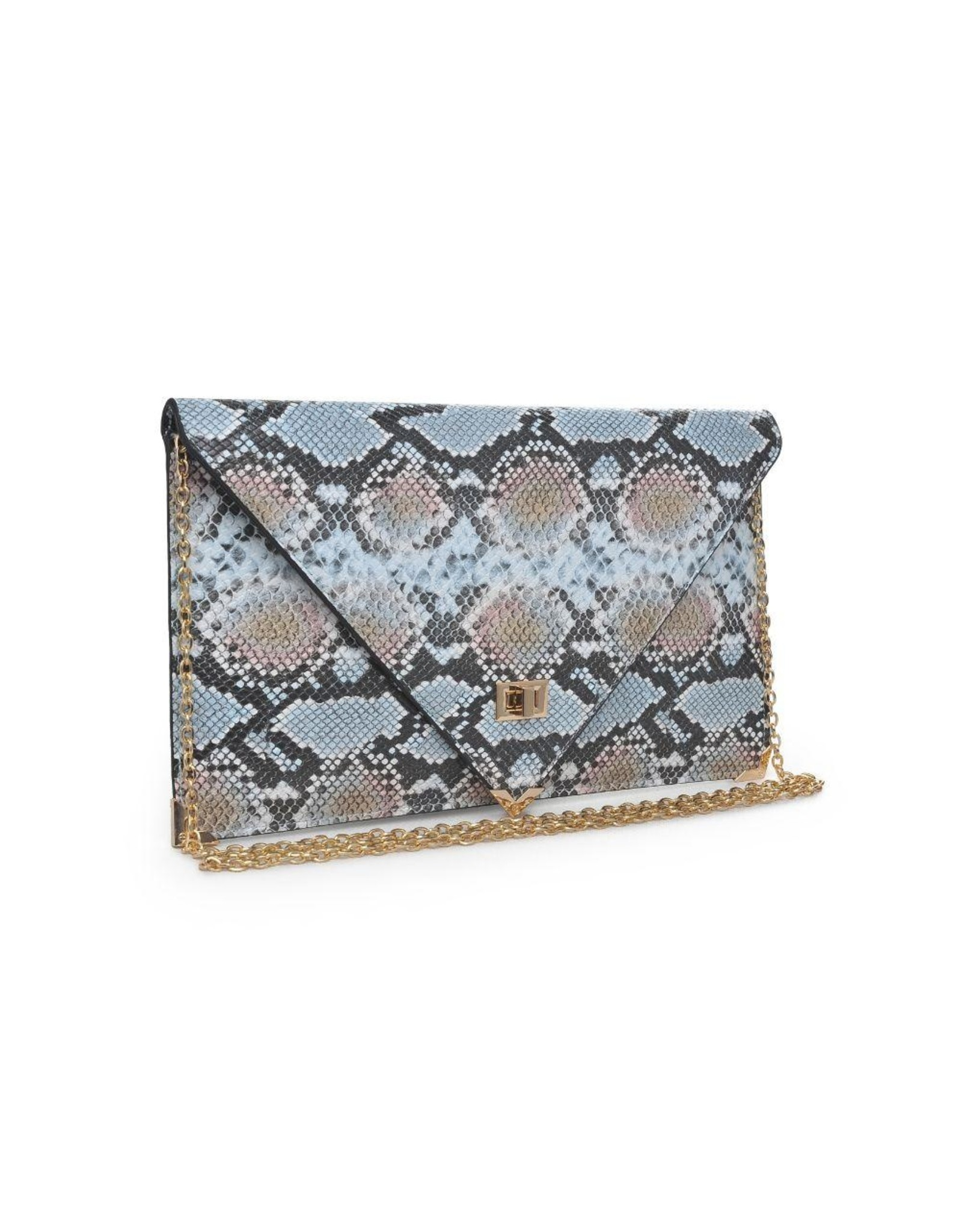 Cally Snake Skin Crossbody Bag - Blue