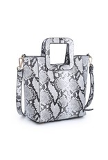 Gertrude Snake Skin Handbag - White