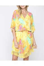Tie Dye Tassel Trim Dress - Yellow