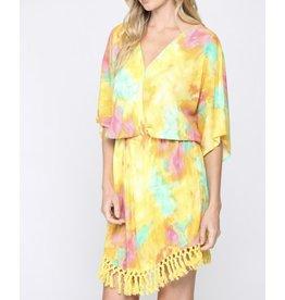 Tie Dye Tassel Trim Dress - Yellow