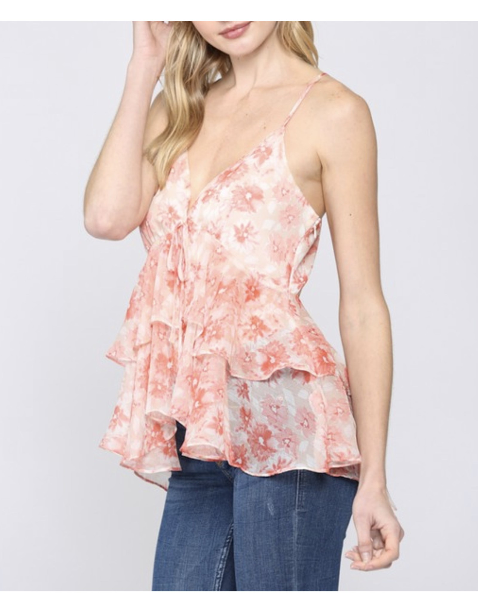 Floral Chiffon Top - Coral