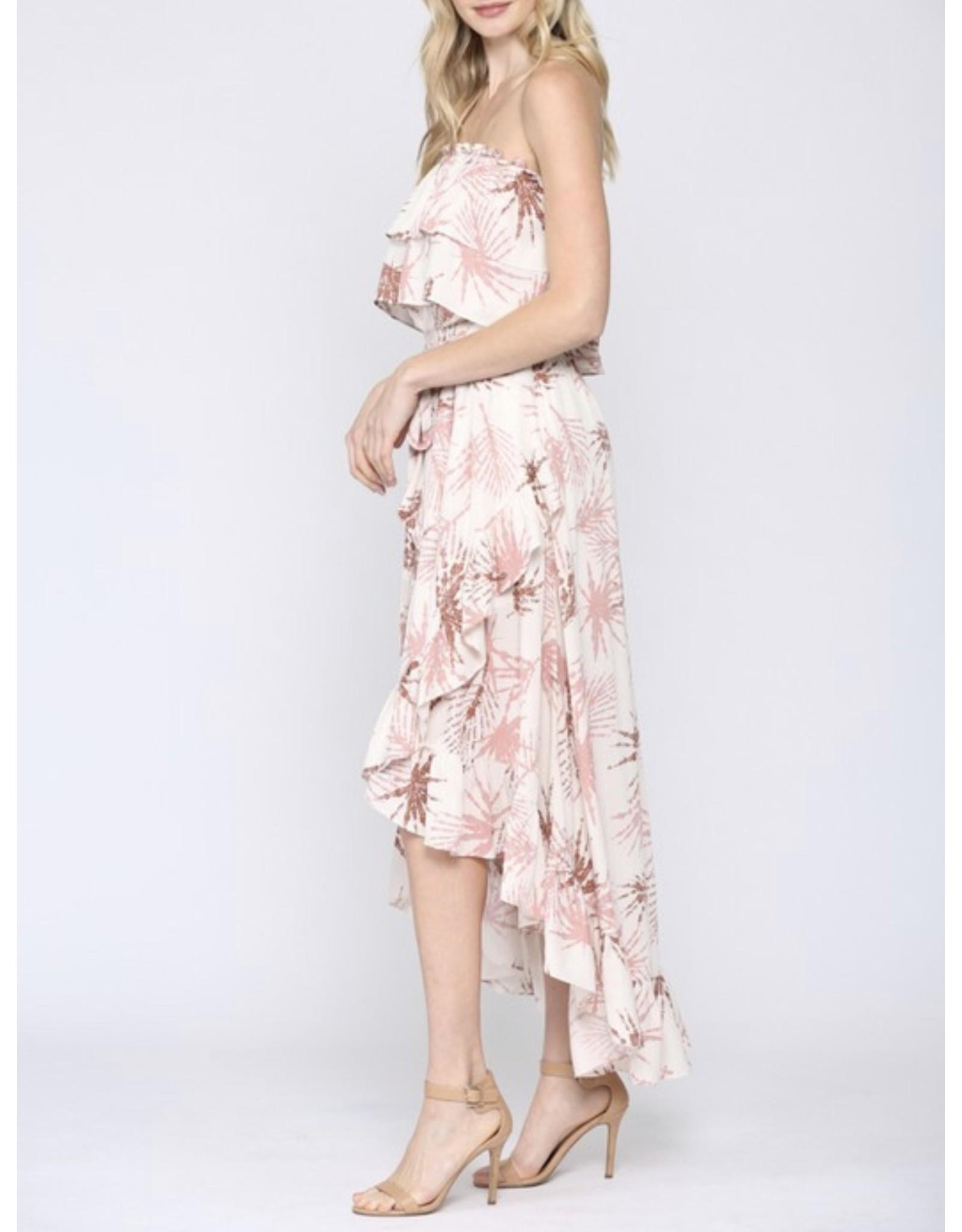 Tropical Hi/Low Off Shoulders Maxi Dress - Mauve