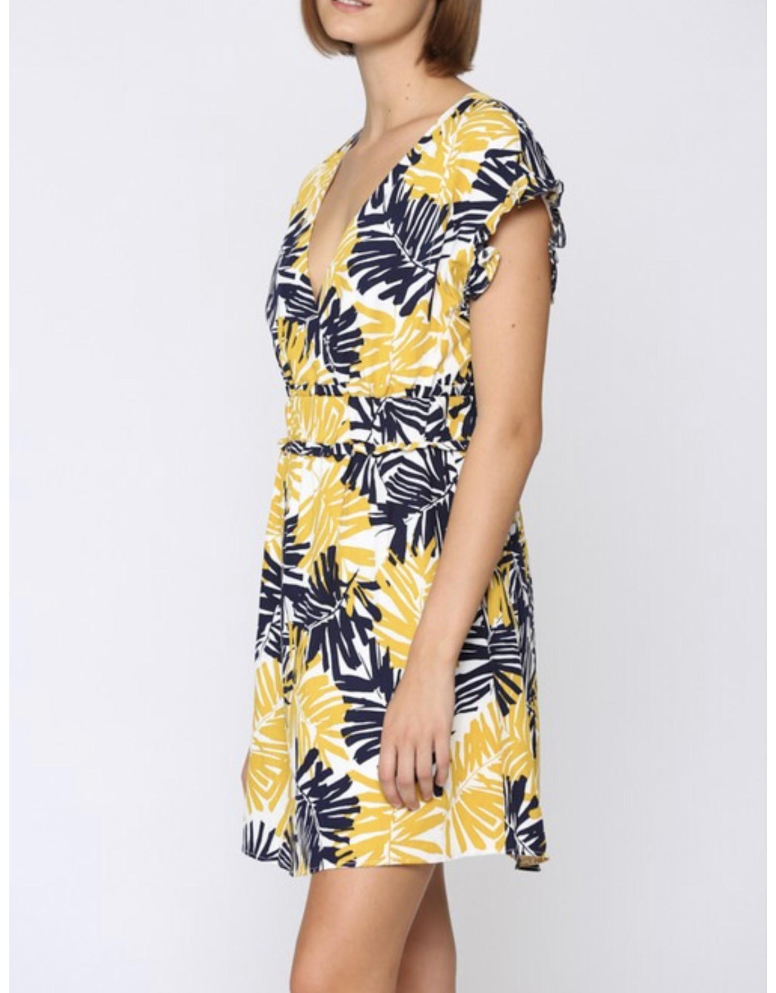Tropical Linen Dress - Mustard/Navy