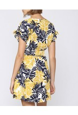 Tropical Linen Dress - Mustard/Navy