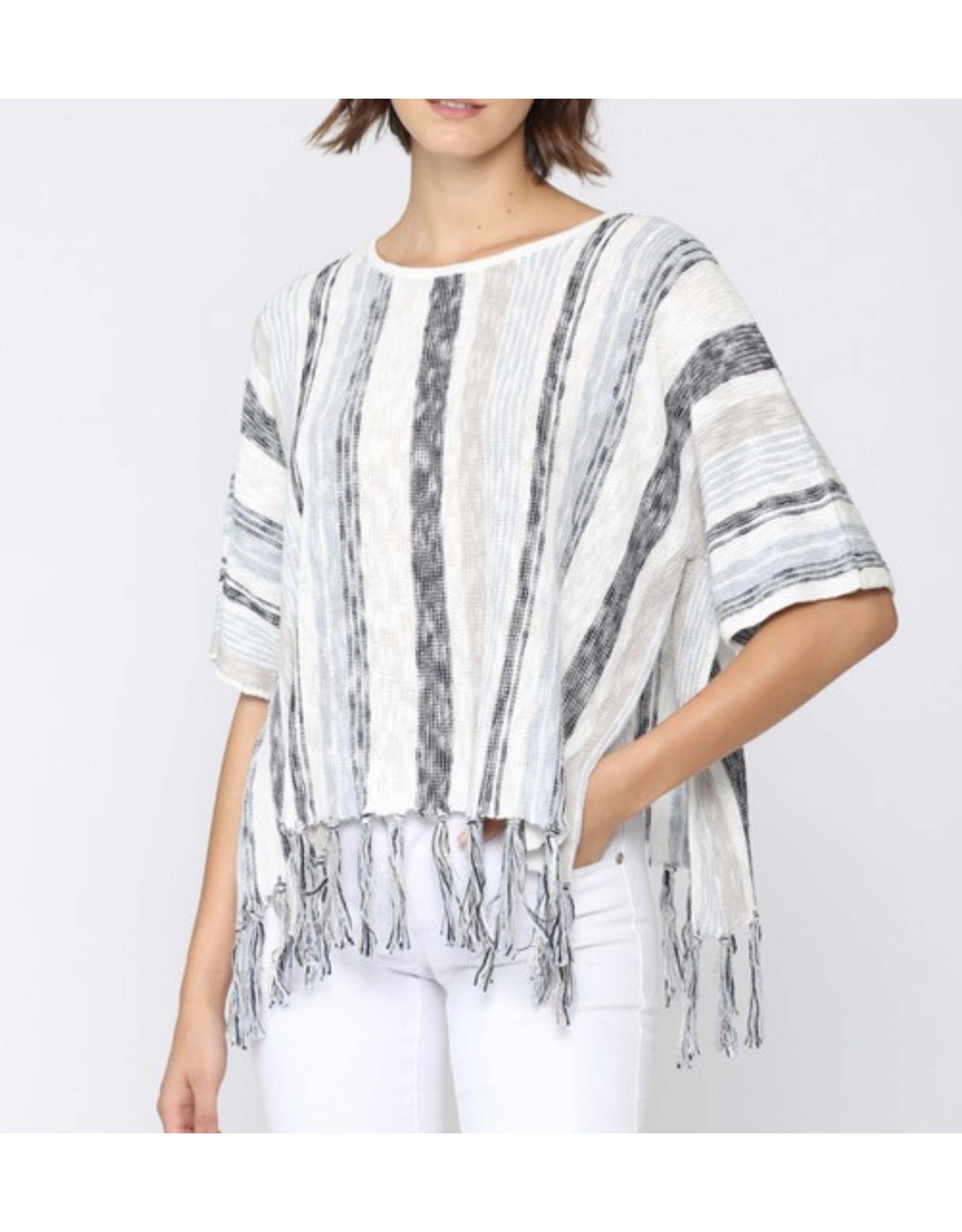 Striped Fringe Detail Sweater - Blue
