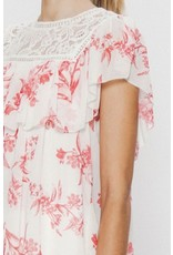 Lace Detail Floral Top - White/Red