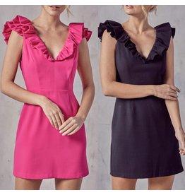 Ruffle Shoulders Dress